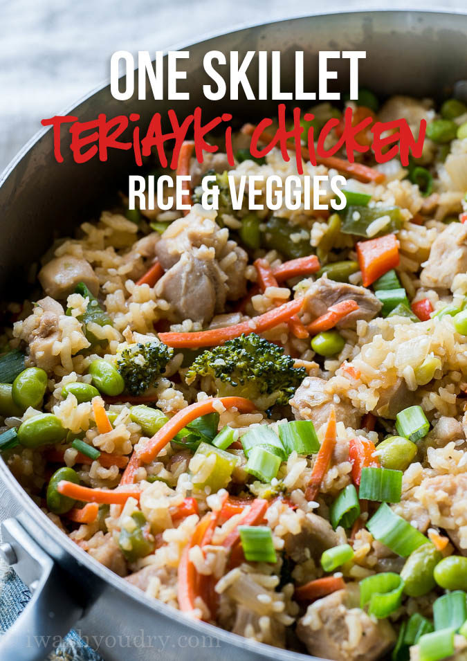 This Teriyaki Chicken Rice Vegetable Skillet is a super quick weeknight dinner recipe that's flavorful and my whole family loved it!