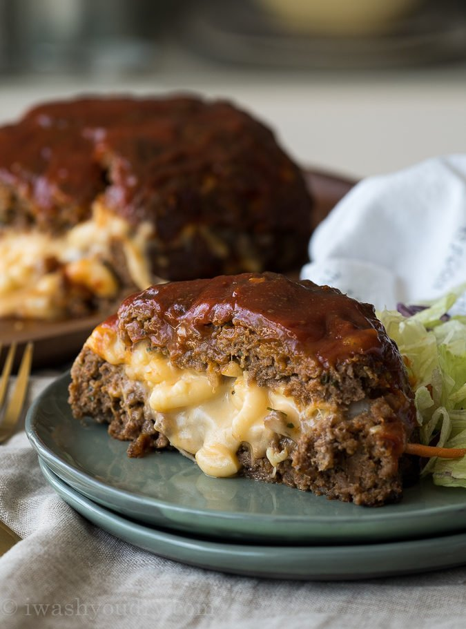 My whole family LOVES this Macaroni Cheese Stuffed Meatloaf! It's filled with extra cheesy macaroni and the meatloaf is perfectly tender!