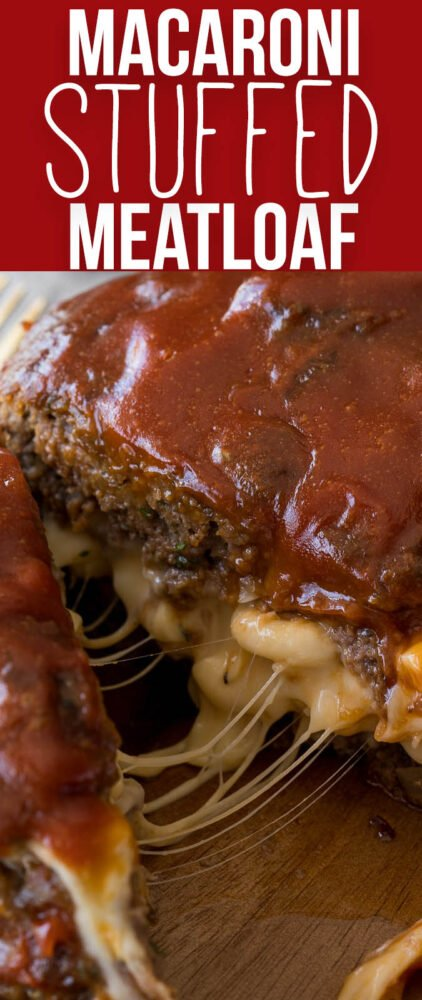 My whole family LOVES this Macaroni and Cheese Stuffed Meatloaf! It's filled with extra cheesy macaroni and the meatloaf is perfectly tender!