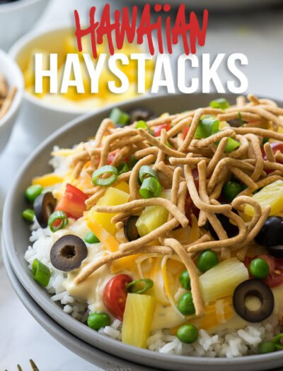 These Quick and Easy Hawaiian Haystacks start out with a super simple chicken gravy, that's poured over a bed of rice, then topped with all your favorite toppings.