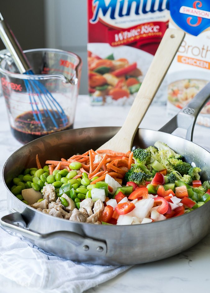 This Chicken Teriyaki Rice Vegetable Skillet is a super quick weeknight dinner recipe that's flavorful and my whole family loved it!