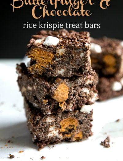 Butterfinger Chocolate Rice Krispie Treat Bars