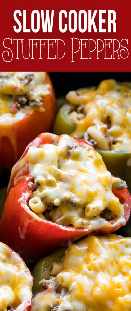 These quick and easy Slow Cooker Beef and Macaroni Stuffed Peppers are made with ground beef and are a family favorite!