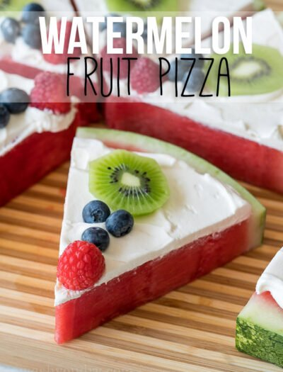 SUPER EASY! My kids go crazy over this delicious refreshing treat! Watermelon Fruit Pizza is my new favorite snack and dessert recipe!