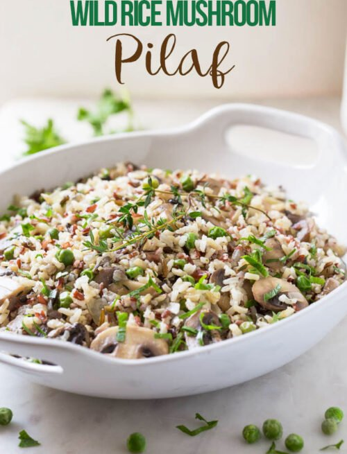Under 30 min Wild Rice Mushroom Pilaf: a super-easy and delicious side dish perfect forpotlucks and holiday gatherings.