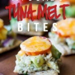 These Avocado Tuna Melt Bites are filled with flakey tuna and creamy avocado all on top of a crispy cracker and topped with melty cheese! Perfect appetizer!