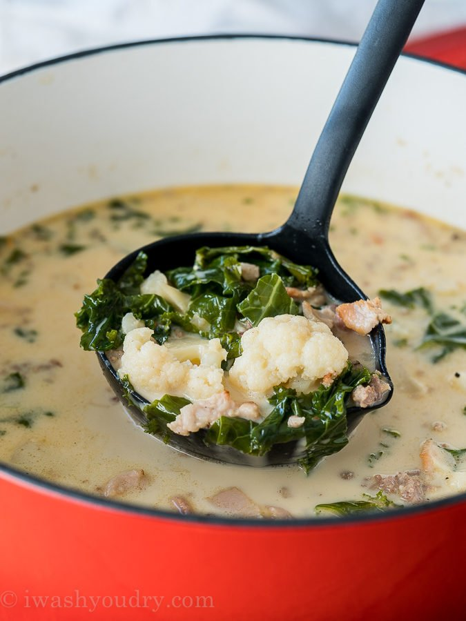 I'm so obsessed with this low carb, keto friendly Zuppa Toscano soup made with cauliflower!
