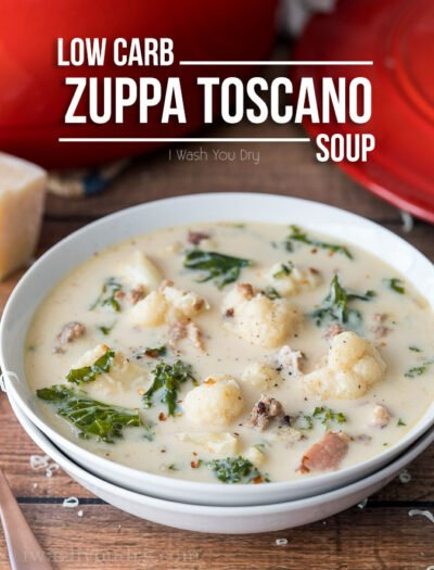 This Low Carb Zuppa Toscana Soup is low on carbs, but HUGE on flavor! My whole family loved this easy soup!