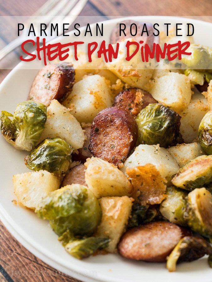 This Parmesan Roasted Sheet Pan Dinner is a complete meal all made on one pan! My kids go crazy for this simple dinner recipe!