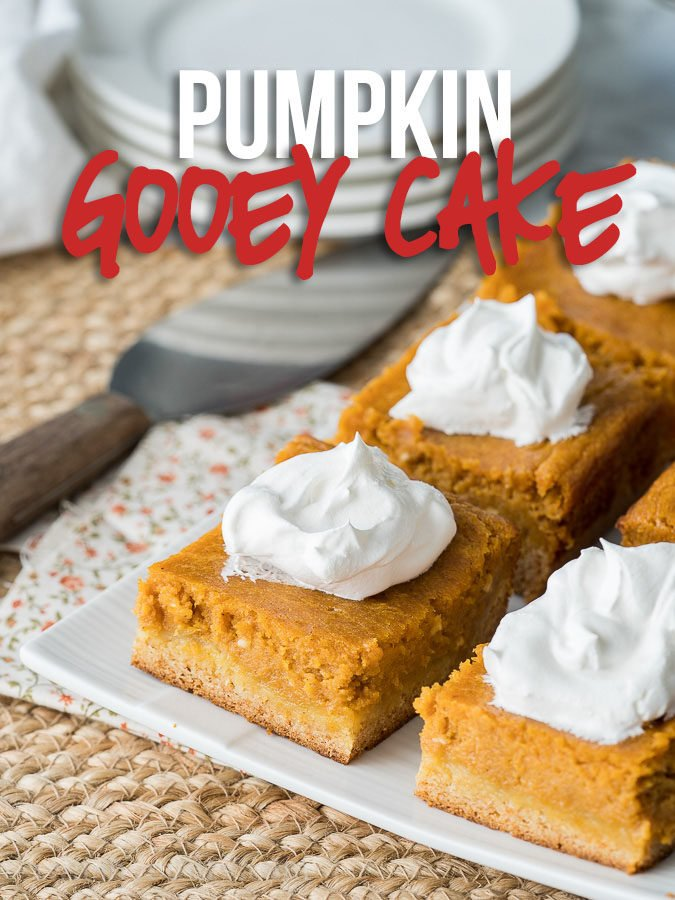 This Pumpkin Gooey Cake is a definitely crowd pleaser! Part cake, part pumpkin pie... it's a dessert winner!
