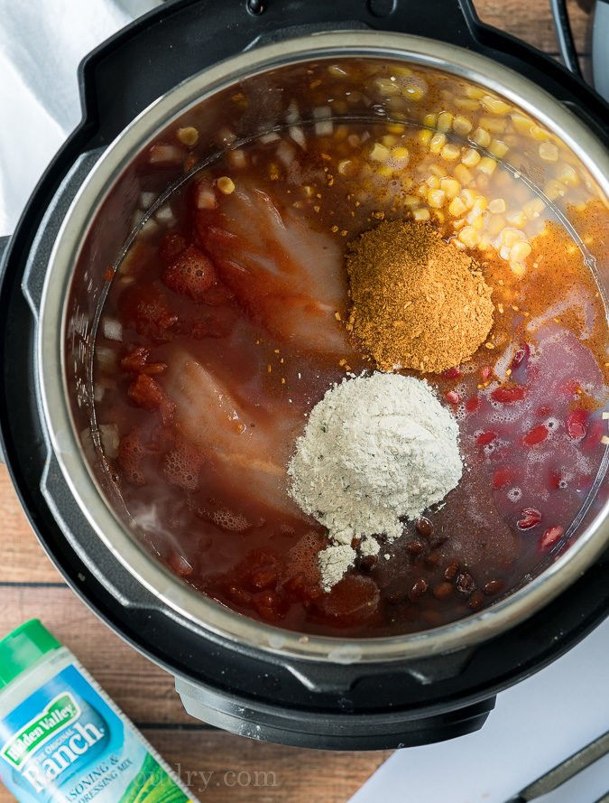 Just toss all the ingredients in the pressure cooker and your Chicken Taco Soup will be ready in minutes!
