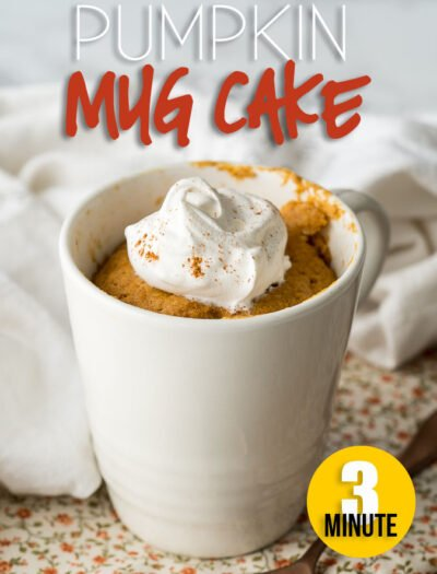 This Pumpkin Mug Cake Recipe is ready in just 3 minutes! It's the perfect single serve dessert this Fall!