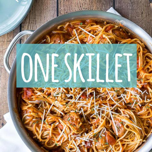 "Food in a skillet titled, ""One Skillet\"""