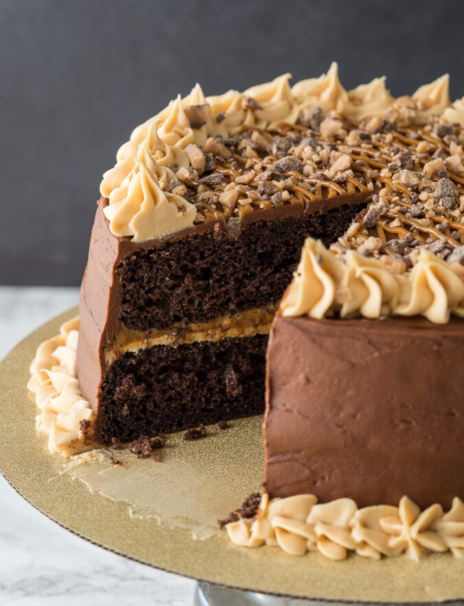 The filling on this chocolate caramel cake is so delicious!