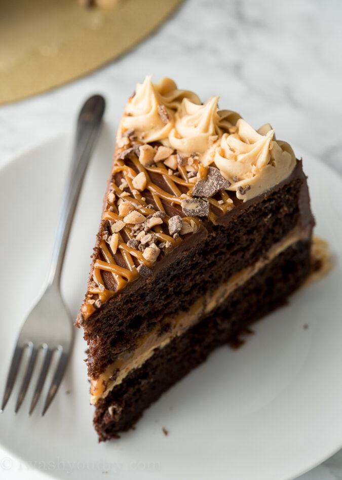 This Chocolate Dulce de Leche Cake is made with a doctored up chocolate cake mix and a super easy chocolate cream cheese frosting!