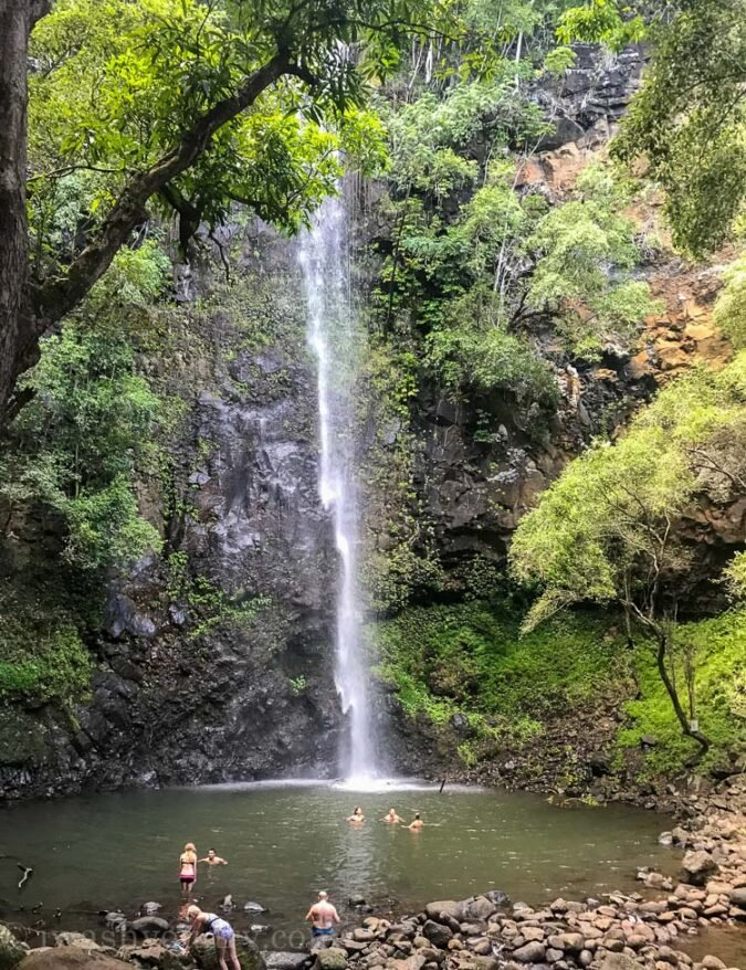 Sacred Falls waterfall in Kauai Hawaii
