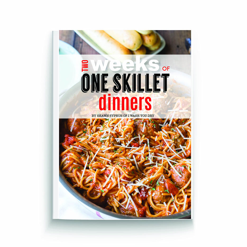 Book cover pic with a close up of food in a skillet