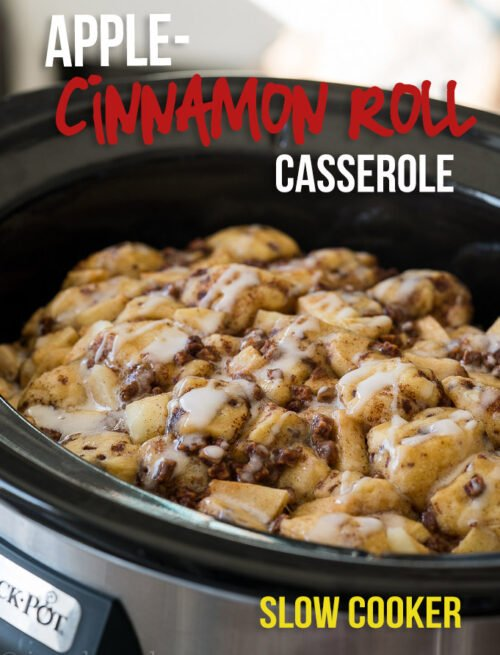 Just toss the ingredients in your crock pot and this Slow Cooker Apple Cinnamon Roll Bake will be ready in a flash!