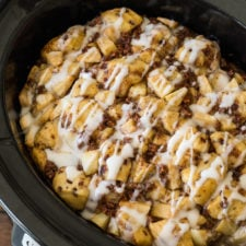 WINNER! This Slow Cooker Cinnamon Roll Bake was so delicious, my family scarfed it down!