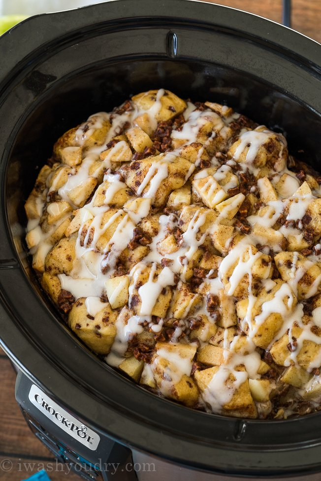 WINNER! This Slow Cooker Cinnamon Roll Casserole is like a French Toast Casserole and was so delicious, my family scarfed it down!