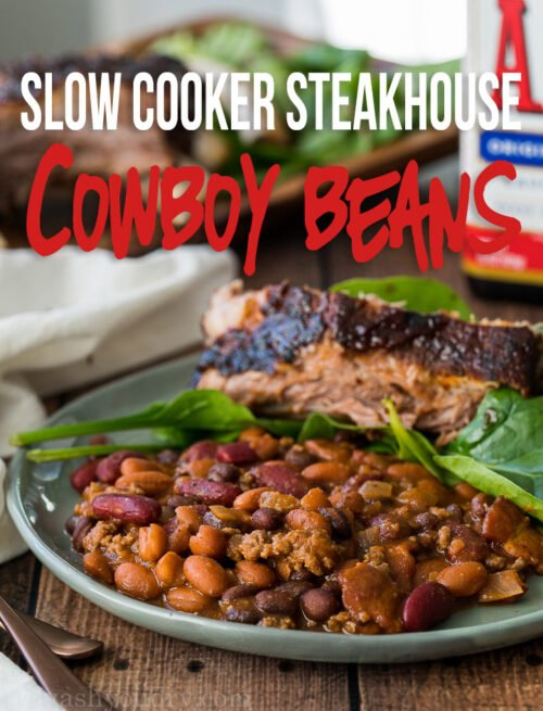 WOW! These Slow Cooker Steakhouse Cowboy Beans could be a meal on their own, but make the perfect comforting side dish to any bbq feast!