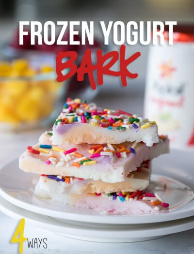 My kids LOVED making these super easy Frozen Yogurt Bark recipes! I loved how quick they were to make, and such an easy after school snack!