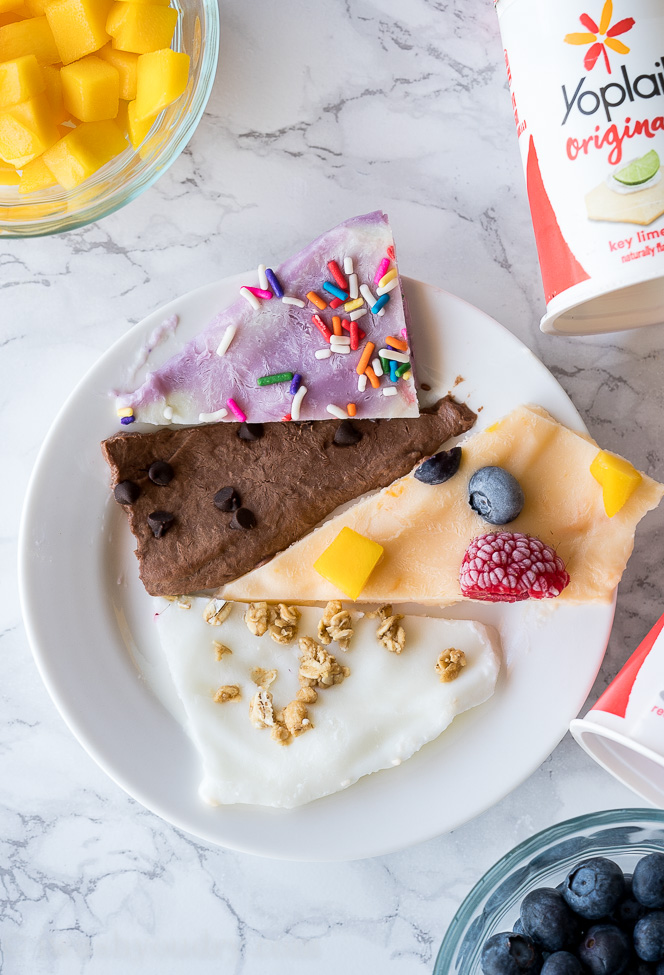 My kids LOVED these super easy Frozen Yogurt Barks! No added sugars, so simple and fun to eat!