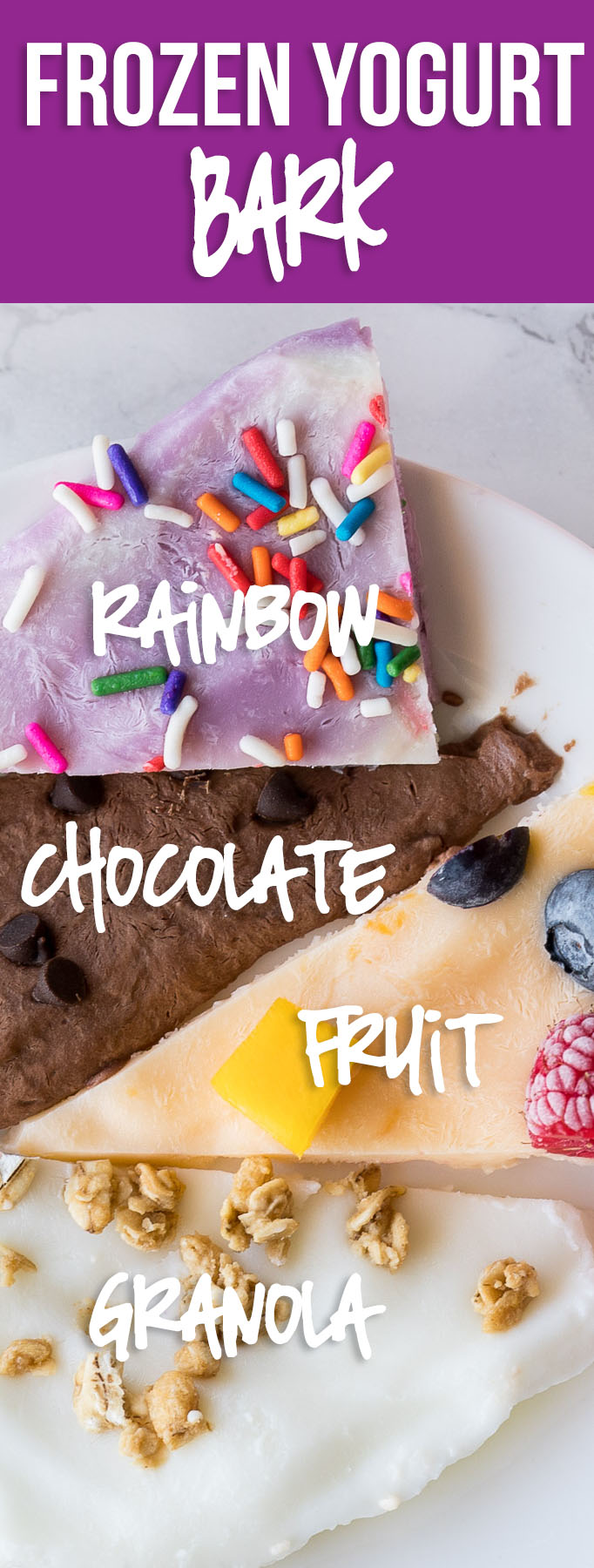 These super easy Frozen Yogurt Bark recipes are 4 different varieties made with no added sugar that even the pickiest of eaters would enjoy!