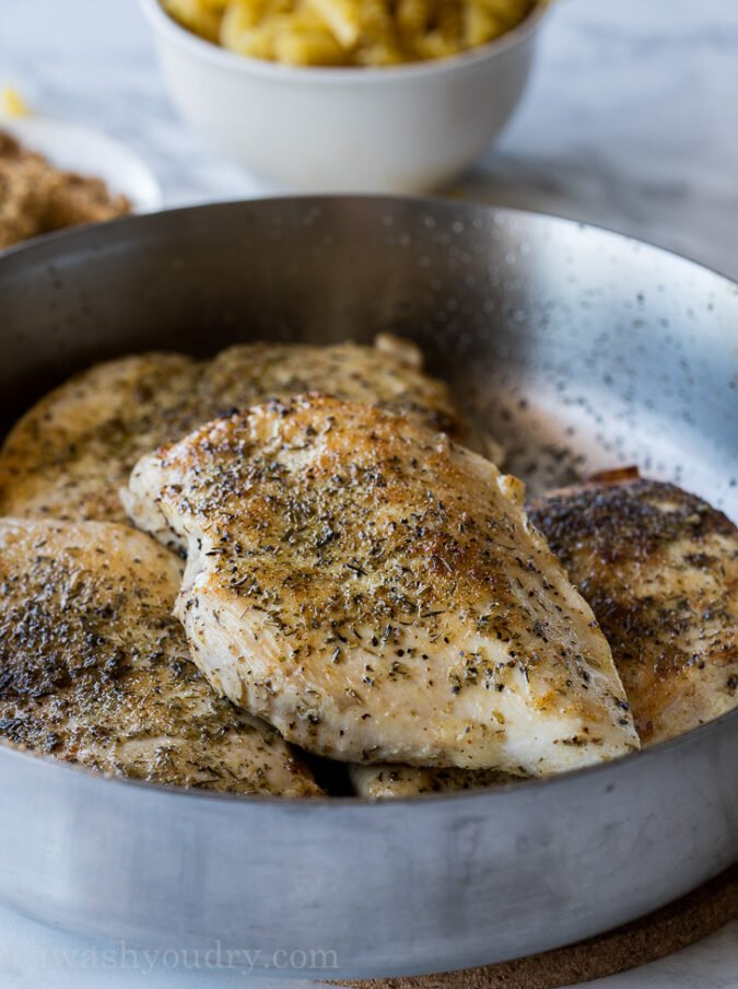 Start by searing chicken in a skillet over high heat for this super easy one skillet dinner recipe.