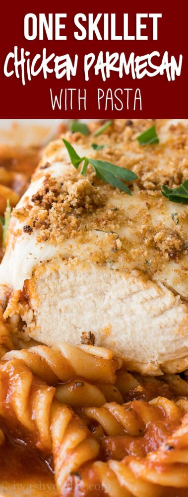 This One Skillet Chicken Parmesan Pasta has quickly become a new family favorite!