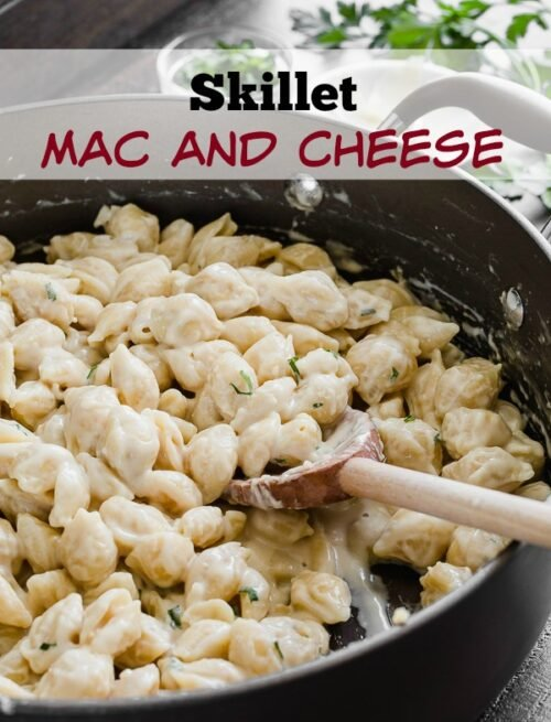 This One Skillet Mac and Cheese is loaded with 3 different flavors of cheese and ready in under 30 minutes! Super kid friendly dinner that even adults LOVE!