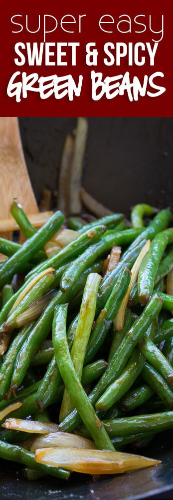 These Sweet and Spicy Green Beans are the perfect Asian inspired side dish! Pair with some grilled chicken for a complete meal!