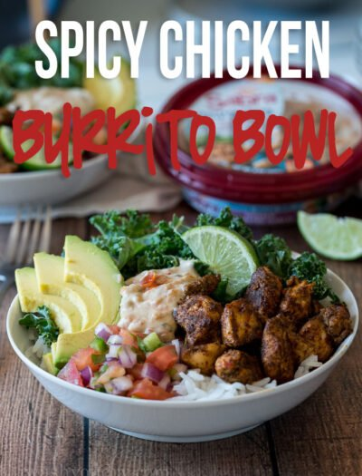 These Spicy Chicken Burrito Rice Bowls are filled to the brim with plump chicken, creamy avocado and delicious white bean dip!