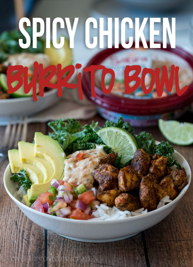 These Spicy Chicken Burrito Rice Bowls are filled to the brim with plump chicken, creamy avocado and delicious white bean hummus!