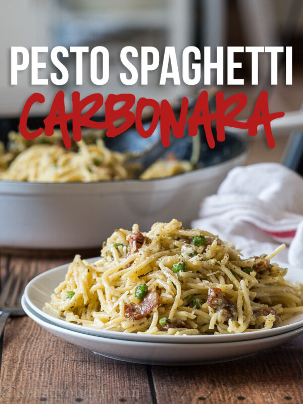 This creamy Pesto Spaghetti Carbonara is just 6 ingredients and ready in 20 minutes! A definite family favorite!