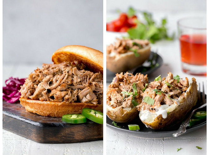 2 pictures of food. Left: shredded slow pork between 2 buns. Right: shredded pork on baked potatoes