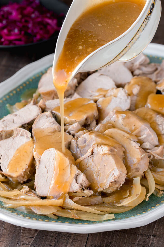 This Slow Cooker Pork Tenderloin is made with a simple ingredients and is bursting with flavor!