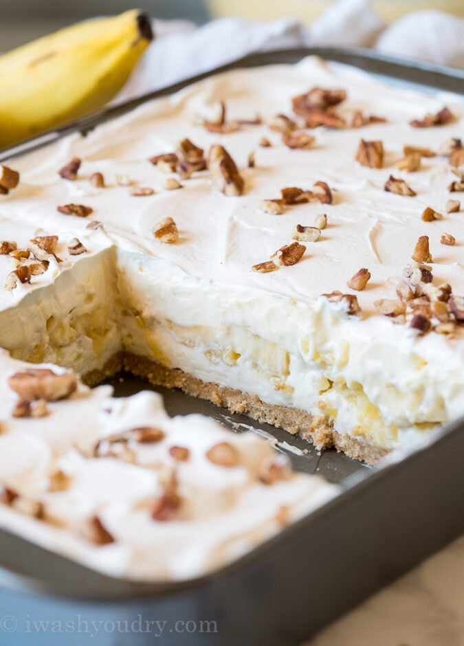 The layers in this No Bake Banana Split Cake are irresistible!