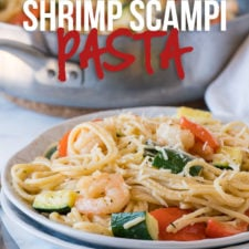 Shrimp Scampi Zucchini Pasta is filled with tender shrimp, zucchini, bell peppers and pasta in a buttery garlic sauce that's ready in just 15 minutes!