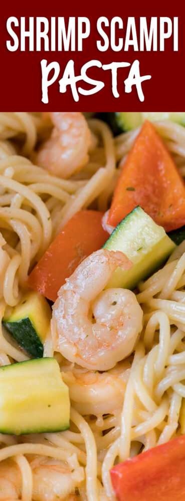This super easy Shrimp Scampi Zucchini Pasta is the perfect easy summer dinner recipe!