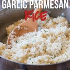 My family LOVES this quick and easy Garlic Parmesan Rice! It's the perfect side dish recipe!