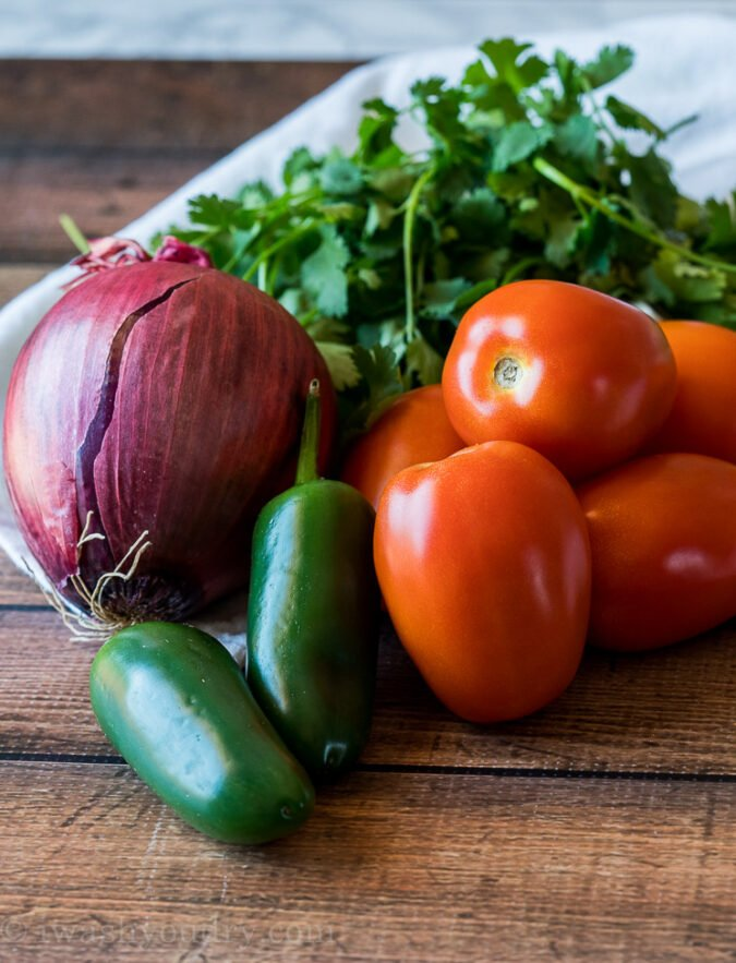The main ingredients for homemade Pico de Gallo are roma tomatoes, jalapeno and onions!