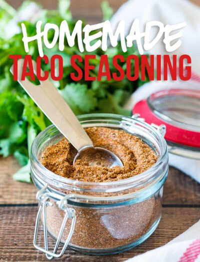 This super easy Homemade Taco Seasoning Recipe is perfect for making taco meat, enchiladas, or anything that requires taco seasoning!