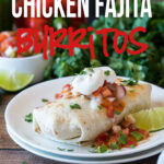 These super easy Baked Chicken Fajita Burritos are filled with charred bell peppers and onions, loads of cheese and tender grilled chicken! Perfect for make ahead meals or a busy weeknight dinner!