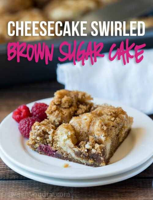 This Cheesecake Swirled Brown Sugar Cake is filled with plump raspberries and topped with a crisp brown sugar topping!