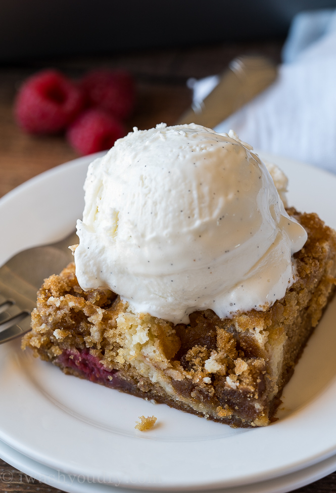 The swirl of cheesecake in this raspberry brown sugar cake is simply irresistible!