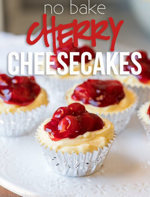 OMG! These Quick No Bake Cherry Cheesecakes are seriously the best thing ever! So easy and so creamy delicious!