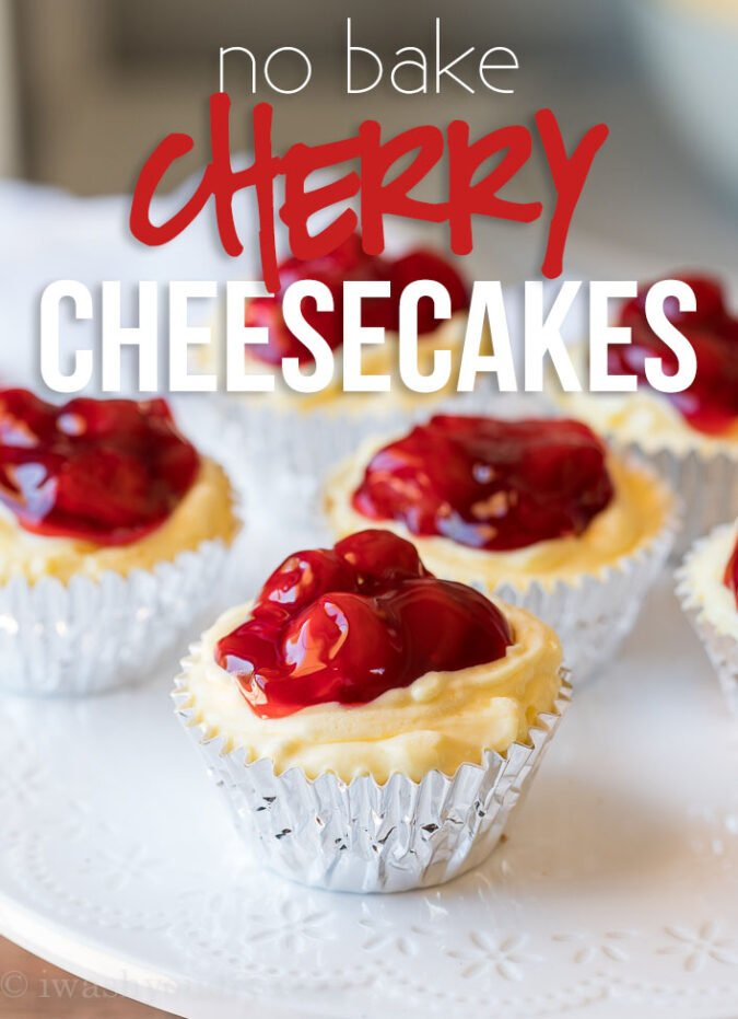 OMG! These Quick Cherry No Bake Cheesecakes are seriously the best thing ever! So easy and so creamy delicious!