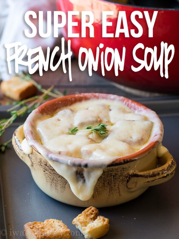 This quick and easy French Onion Soup Recipe is filled with caramelized onions in an aromatic broth and topped with melty cheese!