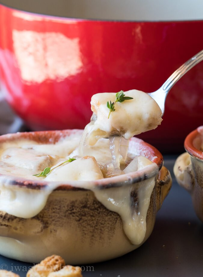 WOW! I love how EASY this warming soup recipe is! French onion soup is our absolute favorite!